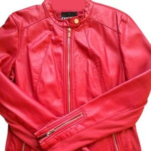 Express Red Faux Leather Jacket